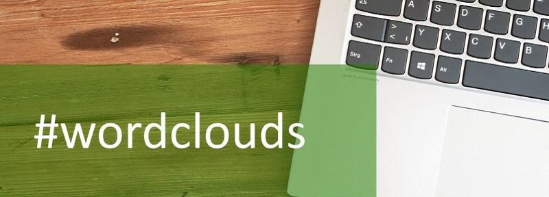 LAptop-Tastatur und das Hashtag Wordclouds