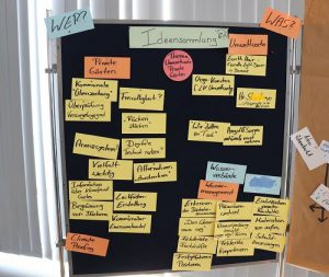 """Ein Affinitätsdiagramm zum Thema """"Umweltwoche"""". Erstellt in einem Workshop."""